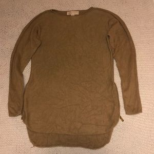 Michael by Michael Kors sweater top w gold zip